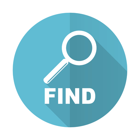to find: find blue flat icon Stock Photo