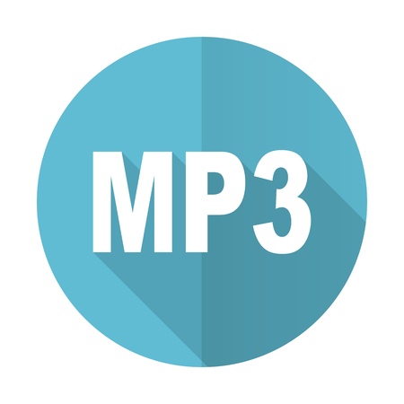 mp3: mp3 blue flat icon Stock Photo