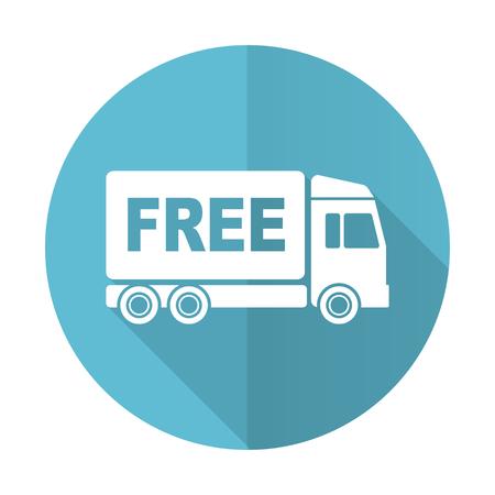 d�livrance: livraison gratuite ic�ne plat bleu signe de transport Banque d'images