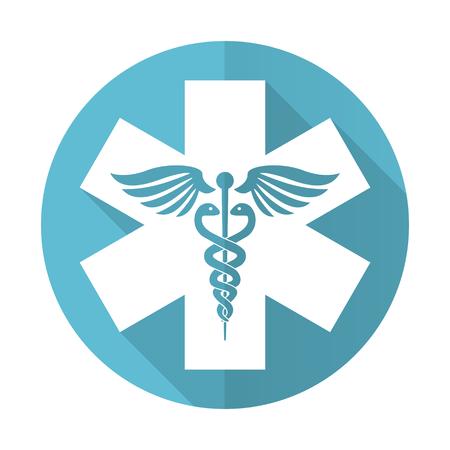 emergency blue flat icon hospital sign photo
