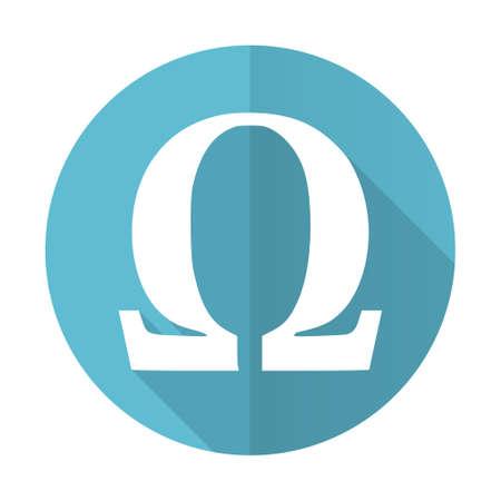 omega: omega blue flat icon