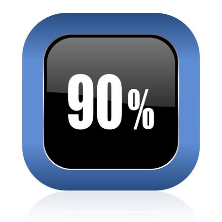90: 90 percent square glossy icon sale sign