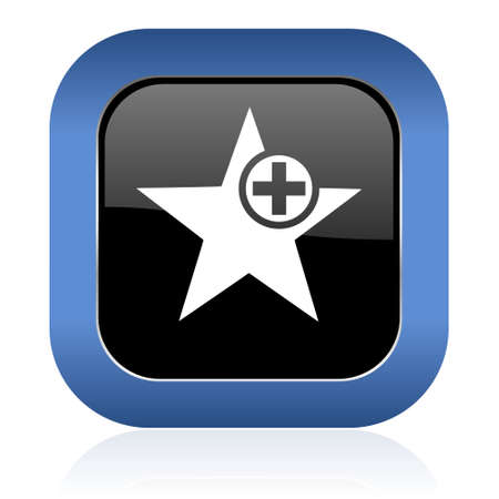 favourite: star square glossy icon add favourite sign