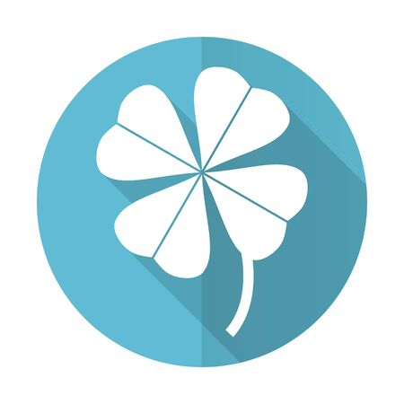 fourleaf: four-leaf clover blue flat icon Stock Photo