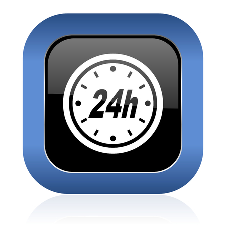 24h: 24h square glossy icon