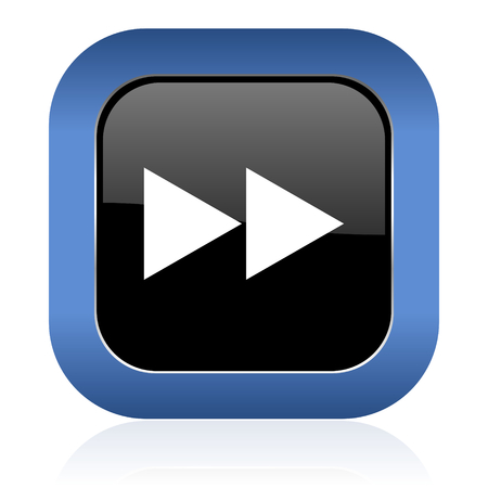 rewind: rewind square glossy icon Stock Photo