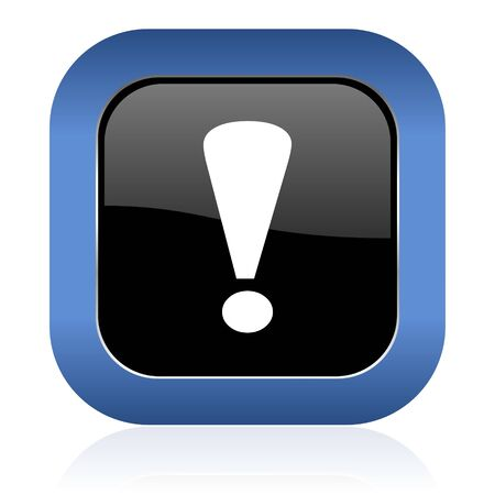exclamation sign: exclamation sign square glossy icon warning sign Stock Photo