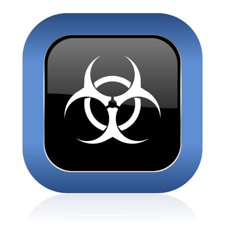 bacterioa: biohazard square glossy icon virus sign Stock Photo
