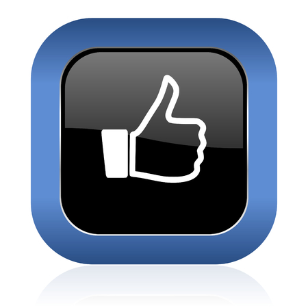 like square glossy icon thumb up sign photo