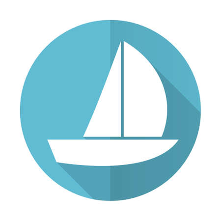 yacht blue flat icon sail sign photo