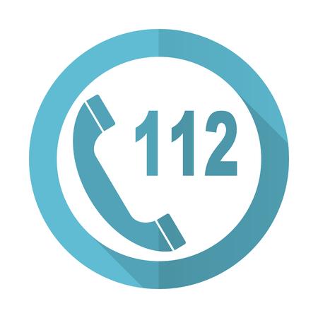 emergency call: emergency call blue flat icon 112 call sign