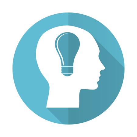 keen: head blue flat icon human head sign Stock Photo