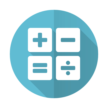 calc: calculator blue flat icon calc sign