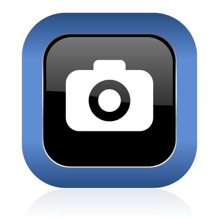 picto: photo camera square glossy icon photography sign Stock Photo