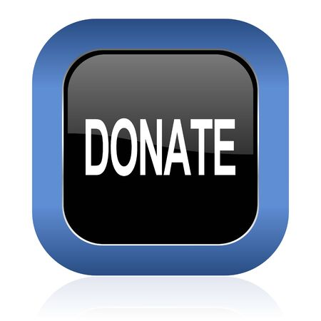 aiding: donate square glossy icon Stock Photo