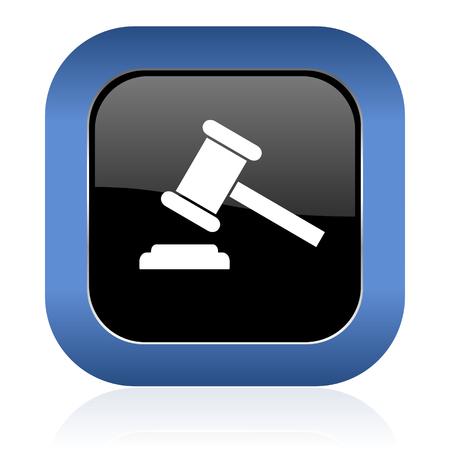 verdict: auction square glossy icon court sign verdict symbol Stock Photo