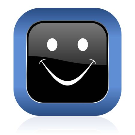 yea: smile square glossy icon