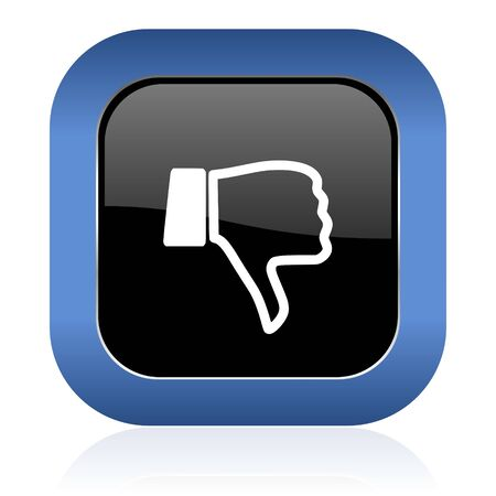 dislike square glossy icon thumb down sign photo