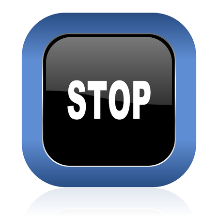 stop square glossy icon photo