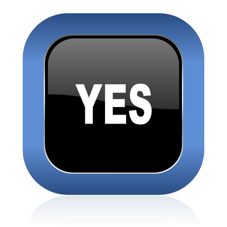 yea: yes square glossy icon Stock Photo