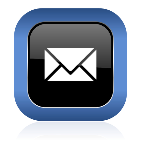 email square glossy icon post sign photo