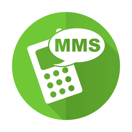 mms: mms green flat icon phone sign