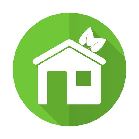 house green flat icon ecological home symbol