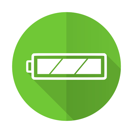 Battery Green Flat Icon Charging Symbol Power Sign Stock Photo