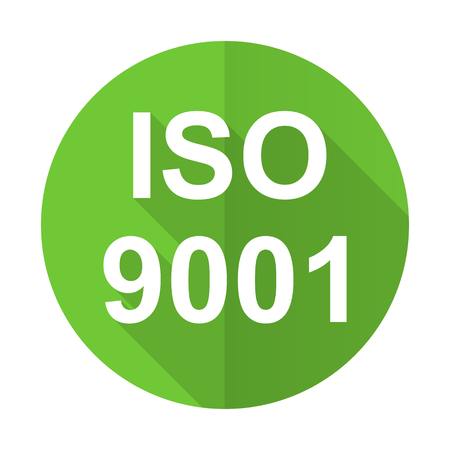 din: iso 9001 green flat icon