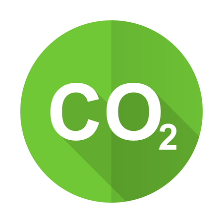 dioxide: carbon dioxide green flat icon co2 sign