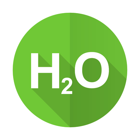 h2o: water green flat icon h2o sign