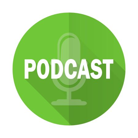 podcast: podcast green flat icon Stock Photo