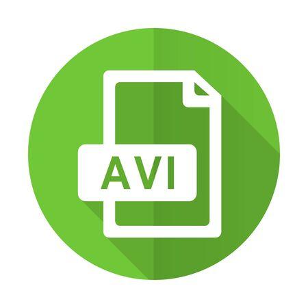 avi: avi file green flat icon