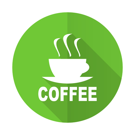 caffee: espresso green flat icon hot cup of caffee sign