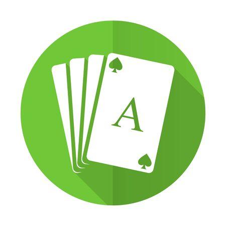 picto: casino green flat icon hazard sign