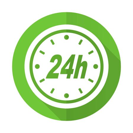 24h: 24h green flat icon