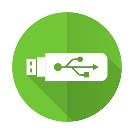 usb green flat icon flash memory sign photo