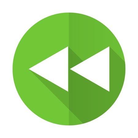 rewind: rewind green flat icon