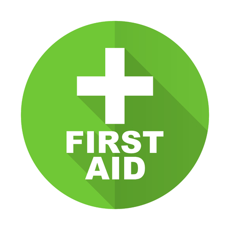 first aid sign: first aid green flat icon