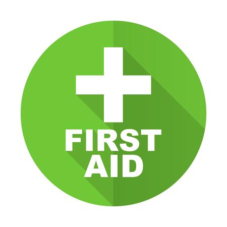 primeros auxilios: primeros auxilios icono plana verde
