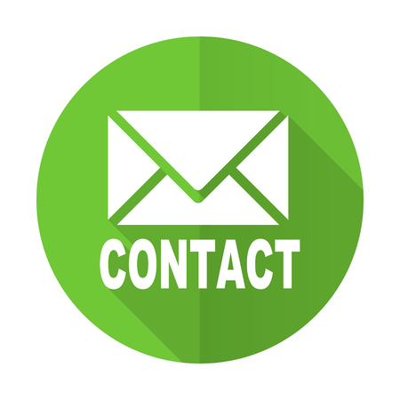 email contact: email green flat icon contact sign Stock Photo
