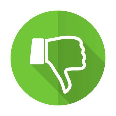 dislike green flat icon thumb down sign Stock Photo