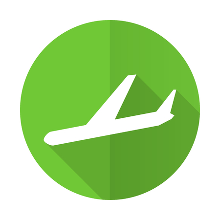 arrivals: arrivals green flat icon plane sign Stock Photo