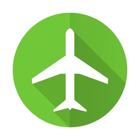airport sign: plane green flat icon airport sign