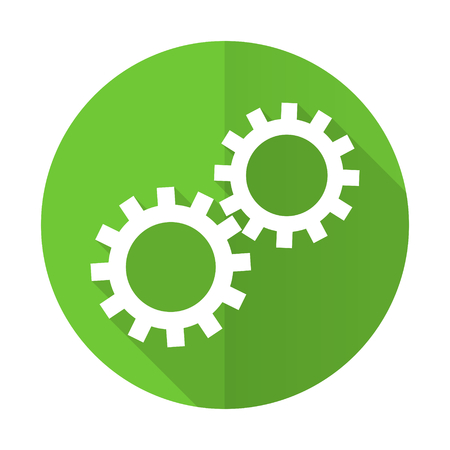 gears green flat icon options sign photo