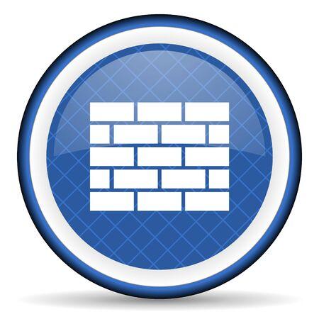 firewall blue icon brick wall sign photo