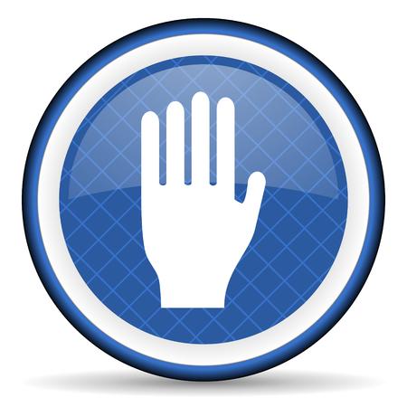 coachman: stop blue icon hand sign Stock Photo