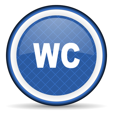 wc: toilet blue icon wc sign
