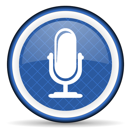 podcast: microphone blue icon podcast sign