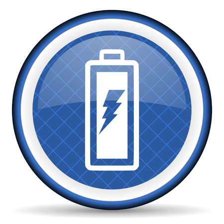 battery blue icon power sign photo